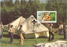 4267  Scout:  Carte Maximum 1er Jour D'Allemagne, 1985 -  Maximum Card With FDCancel From Germany. Tent Tente - Scoutisme