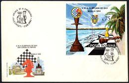 CHESS - ROMANIA BUCAREST 1992 - 30th CHESS OLYMPIAD - FDC - SOUVENIR SHEET - Scacchi