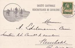 Werbekarte: Société Cantonale Neuchâteloise De Cavalerie. Mi.164x Von Neuchatel N. Neuchatel Am 24.X.1924 - Publicité