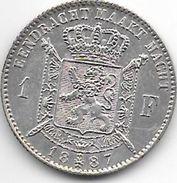 *belguim 1 Franc  Leopold II  1887  Flemisch  Type B  L   WIENER  L Zonder Punt  Fdc!!!!!!! - 1865-1909: Leopold II