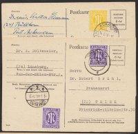 """Brit. Zone, 2 Bedarfskarten Mit Zusatzfrankatur """"AM""""- Post, Mi-Nr. P706, O - Bizone"""