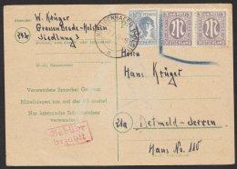 """Wertzeichen überklebt, Zusatzfrankatur Und """"Gebühr Bezahlt"""", Reiner Bedarf """"Heiligenhafen2, 7.7.47, Mi-Nr. P783I, O - Bizone"""