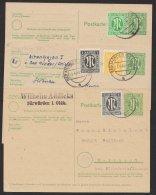 """Brit. Zone, 3 Bedarfskarten Mit Versch. Zusatzfrankatur """"AM""""- Post, Mi-Nr. P904, O - Bizone"""