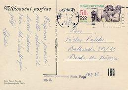 M0732 - Czechoslovakia (1982) 388 01 Blatna (postcard: Easter); Tariff: 50h (stamp: ZOO Praha 1931-1981 - Gorillas) - Timbres