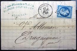 PC Du GC 113  + Cachet Type 15  --  ANNONAY  --  ARDECHE  --  LAC  --  1866 - 1849-1876: Classic Period