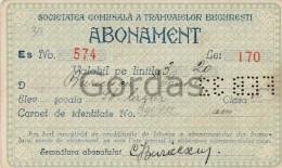 Romania - Bucuresti - Abonament Tramvai 1932 - Europe