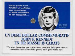 John F. Kennedy 35ème Président Des Etats Unis - Un Demi Dollar Commémoratif - Or 18 Carats - - Collections
