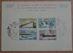 1956 Italien FDC Cortina Gedenkblatt G.O.Invernali   Siehe Scan - Olympische Spelen