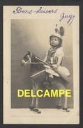 DF / JEUX ET JOUETS / ENFANT EN TENUE DE SOLDAT (DRAGON) SUR UN CHEVAL DE BOIS / CIRCULÉE EN 1907 - Games & Toys