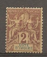 COTE IVOIRE - Yv. N° 2  *  2c  Lilas Brun S Paille Cote 3,5 Euro BE 2 Scans - Ivory Coast (1892-1944)