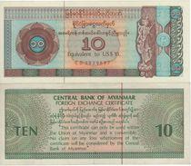 MYANMAR  (Burma)    10 Dollar  (Foreign Exchange Certificate)  PFX3     (ND 1983)  UNC - Myanmar