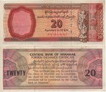 MYANMAR  (Burma)    20 Dollar  (Foreign Exchange Certificate)  PFX4    (ND 1983)    XF/AU - Myanmar
