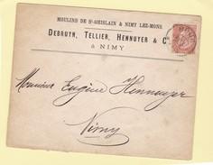 N° 57 / Env. De DOUR  En Tête Moulins De St Ghislain - 1893-1900 Fine Barbe