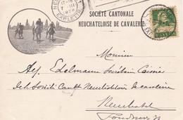 Werbekarte: Société Cantonale Neuchâteloise De Cavalerie. Mi.164x Von Neuchatel N. Neuchatel Am 17.III.1928 - Publicité
