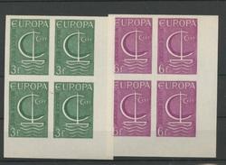 1966  EUROPA   Belgique  Blocs De 4  NON DENTELES  IMPERF  Tirage De 35 Ex Blocs De 4 - Europa-CEPT