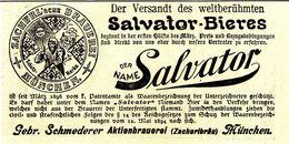 Original-Werbung/ Anzeige 1899 - SALVATOR BIER - MÜNCHEN - Ca. 135 X 60 Mm - Pubblicitari