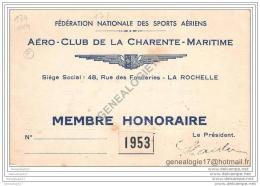 17 388 LA ROCHELLE 1953 Carte FEDERATION NATIONALE DES SPORTS AERIENS AERO CLUB CHARENTE MARITIME Rue Fonderies - Sonstige