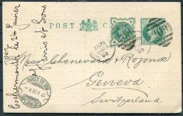 1902 GB QV Uprated Stationery Postcard Jubilee, Derwent Mills Cockermouth Cumbria 209 Duplex - Geneva, Rue Du Stand, - Storia Postale