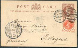 1896 GB QV Uprated Stationery Postcard Jubilee PERFIN London W58 Duplex - Cologne Koln Germany. Bismark Statue Address! - Storia Postale