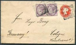1894 GB QV Uprated Stationery Cover London - Cologne Koln Germany - Briefe U. Dokumente