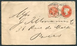 GB QV Uprated Stationery Cover London - Pais, France. Cannon's Bookpost Envelope, A Hartrodt, Fore Street - Storia Postale