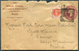 1897 GB QV Jubilee Uprated Stationery Cover Colchester. Winch Freres Stamp Dealers Paris - Cannes - Storia Postale