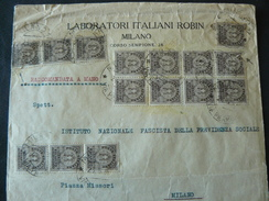"""1939 LETTER OF """" RECAPITO AUTORIZZATO """" WITH 15 POSTAGESTAMPS ..//..15 FRANCOBOLLI DI RECAPITO AUTORIZZATO DA 10 Cent. - 1900-44 Victor Emmanuel III"""