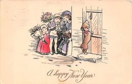 USA - A Happy New Year - Illustration Children With Presents Dog 1912 - Etats-Unis