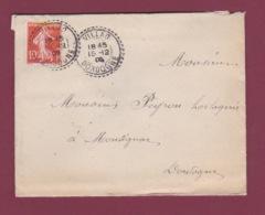 Cachet Perlé - 171217 -  10c Semeuse  Oblitération Perlée VILLAC DORDOGNE En 1909 - Postmark Collection (Covers)
