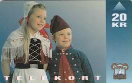 Faroe Islands, OD-009,  20 Kr , National Costume (children), 2 Scans. - Faroe Islands