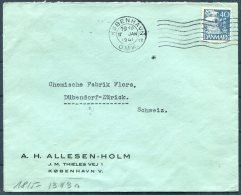 1941 Denmark Copenhagen Censor Cover A.H. Allesen-Holm - Chemische Fabrik Flora, Dubendorf Zurich Switzerland - Covers & Documents