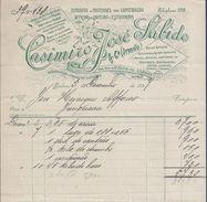 Fatura Materiais De Construção Civil Datada 1907.Junqueira.Lisboa.Oficina De Canteiro E Estatuária.Telefone Capicua 828 - Portugal