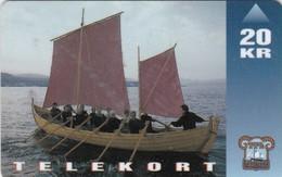 """Faroe Islands, OD-011,  20 Kr , Shiptype """"seksæringur"""", 2 Scans. - Faroe Islands"""