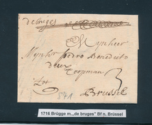 776/25 - Lettre Précurseur De Bruges 1716 Vers Brussel - Port à L'encre 3 Sols - Signée Pieter Willaert - 1714-1794 (Paises Bajos Austriacos)