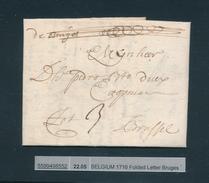 777/25 - Lettre Précurseur De Bruges 1716 Vers Brussel - Port à L'encre 3 Sols - Signée Pieter Willaert - 1714-1794 (Austrian Netherlands)