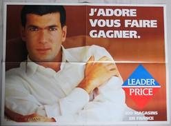 Grand Poster Zinedine Zidane Football Publicité Leader Price 2000 - Habillement, Souvenirs & Autres