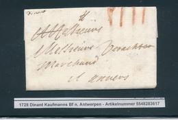779/25 - Lettre Précurseur De DINANT(manuscrit Dinant) 1728 Vers Anvers - Port à La Craie IIII - Signée Honton - 1714-1794 (Austrian Netherlands)