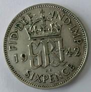 SIX PENCE - 1942 - GEORGES VI - - 1902-1971 : Monnaies Post-Victoriennes