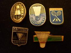5 USSR Badminton Badges - Soviet Pins - Badminton