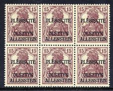 ALLENSTEIN 1920 First Issue 15 Pfg.red-brown In Block Of 6 MNH / **.  Michel 4a - Germany