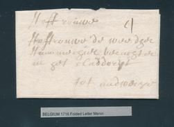 781/25 - Lettre Précurseur De MEENEN MENIN 1716 Vers Audergem (?) - Port Encre 4 - Signée Weduwe Graet - 1714-1794 (Austrian Netherlands)