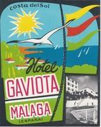 SPAIN ESPAÑA -  HOTEL LUGAGGE  LABEL - HOTEL GAVIOTA - MALAGA - Hotel Labels