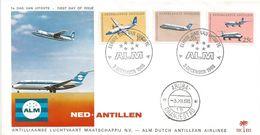 Netherlands Antilles 1968 Aruba Fokker Friendship-500 Friendship-50 Douglas DC-9 ALM FDC Cover - Vliegtuigen