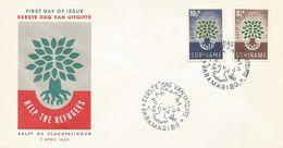 Surinam Suriname 1960 Paramaribo World Refugee Year Tree FDC Cover - Refugees