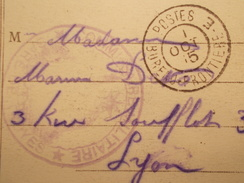 Marcophilie  Cachet Lettre Obliteration - Militaire Bureau Frontière E - 1915 - (1637) - 1. Weltkrieg 1914-1918