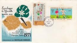 CONDOMINIUM DES NOUVELLES HEBRIDES - PREMIER JOUR 4e JEUX PACIFIQUE SUD PAPEETE-TAHITI 1971  - PORT VILA 13.7.1971 / 2 - FDC