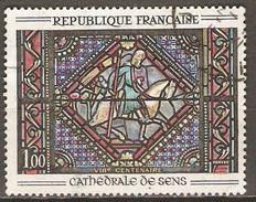 FRANCE   -   1964.  Y&T N° 1427 Oblitéré  Cachet Rond.    Vitrail De La Cathédrale De Sens - Frankrijk