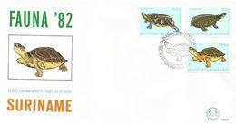 Surinam Suriname 1982 Paramaribo Turtle Platemys Platycephala Mesoclemys Gibba Rhinoclemys Punctularia FDC Cover - Tortues
