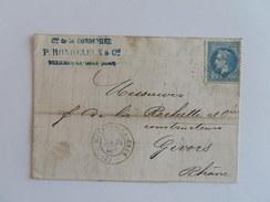 EMPIRE LAURE 29 SUR LETTRE DE BUXIERE LA GRUE A GIVORS DU 28 FEVRIER 1869 (GROS CHIFFRE 681) - Marcophilie (Lettres)