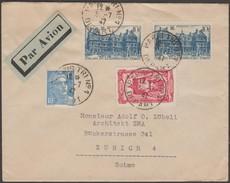 France 1947 Y&T 596, 718A Et 760 X 2. Lettre Envoyée Par Avion De Paris Tri N° 1 à Zurich. Vignette Baissons Les Prix - France